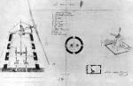 12. ábra. Középenhajtós szélmalom alaprajza, metszete és távlati képe. Hódmezővásárhely (Csongrád m.), 1874