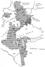 3. térkép. A regölés és a regösének-változatok elterjedése a Dunántúlon (MNT II. nyomán)
